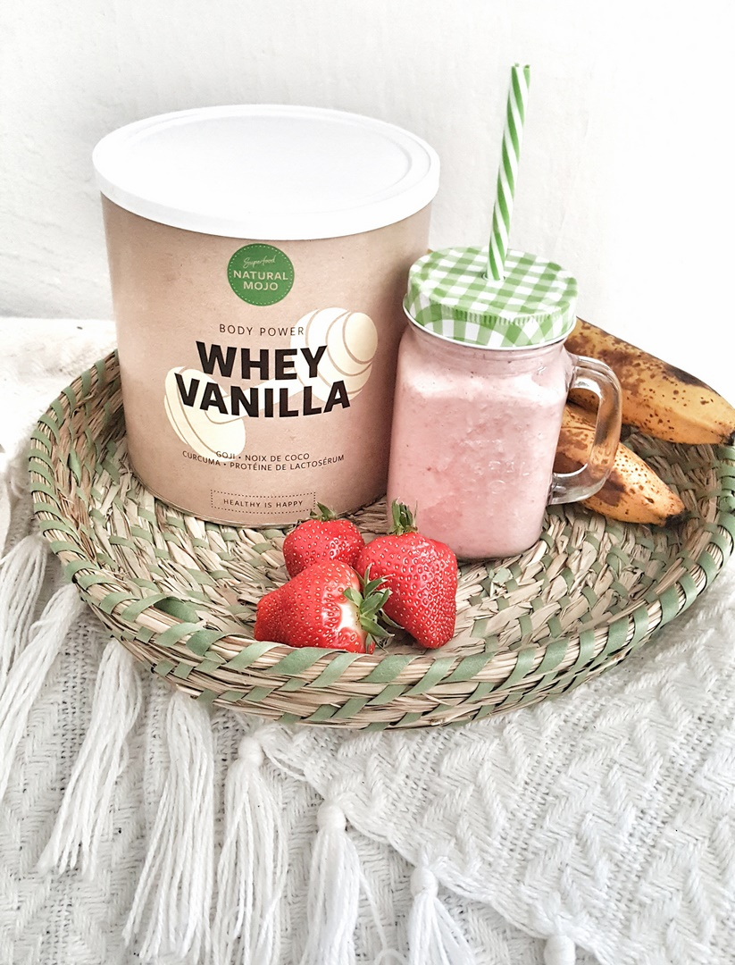 whey vanilla natural mojo smoothie fraises