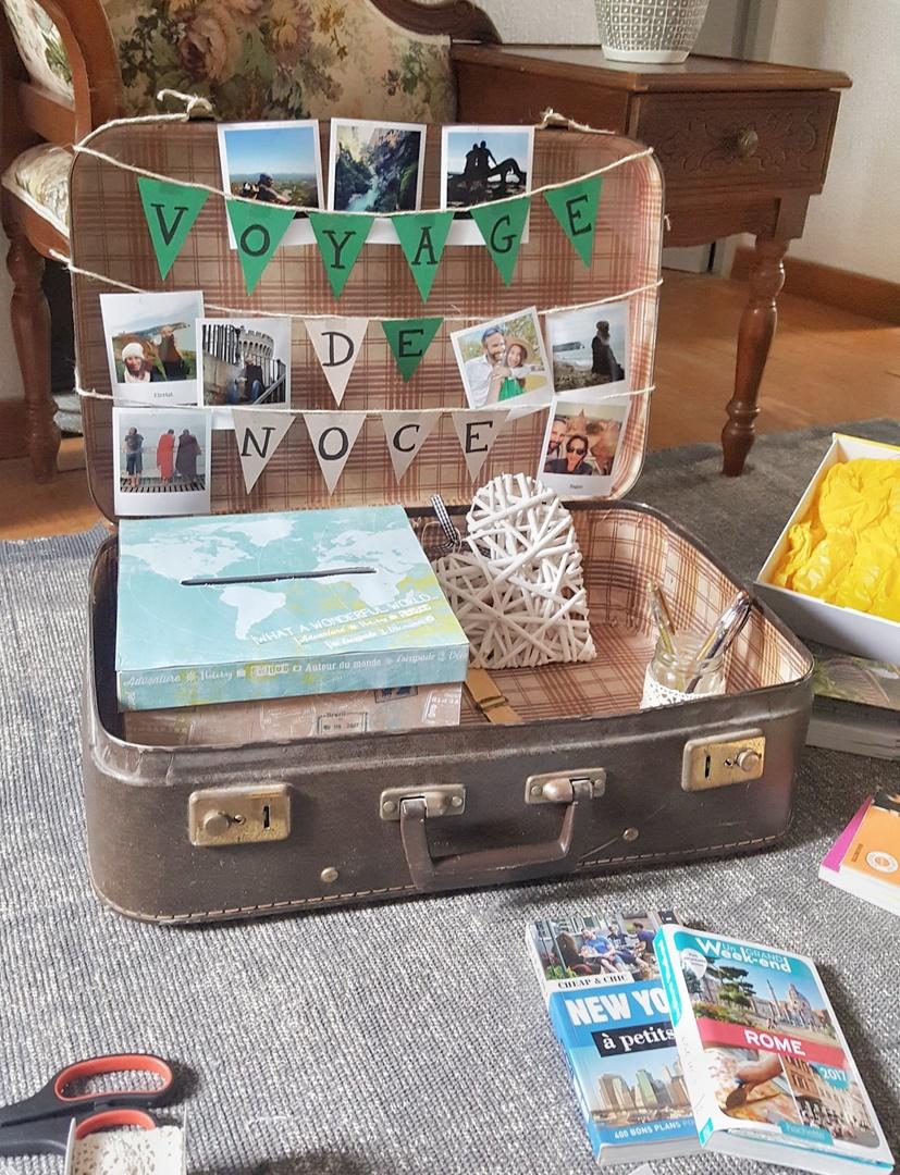 fabrication urne de mariage dans une valise
