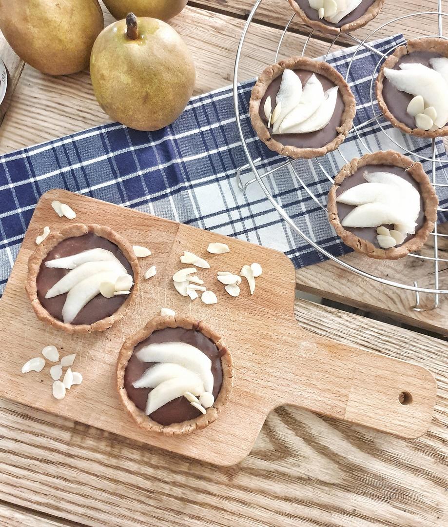 tartelettes aux poires vegan peu sucrées